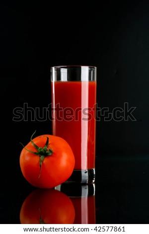 tomato juice and tomato - stock photo