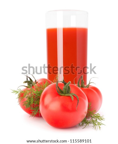 Tomato juice glass isolated on white background