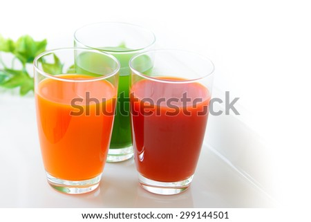 tomato juice,green vegetable juice and vegetable juice - stock photo
