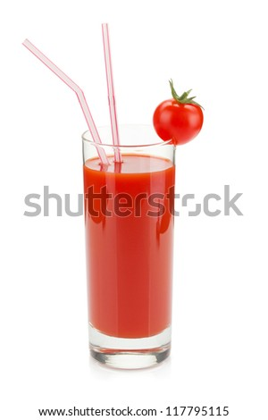 Tomato juice in a glass with drinking straw. Isolated on white background - stock photo