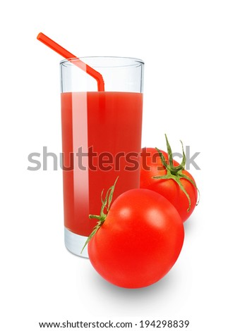 tomato juice in glass on white background