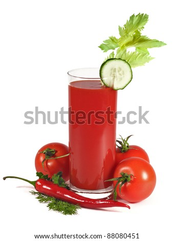 Tomato juice, isolated on white background, with tomatoes, chilli pepper, lettuce, dill and cucumber slice.