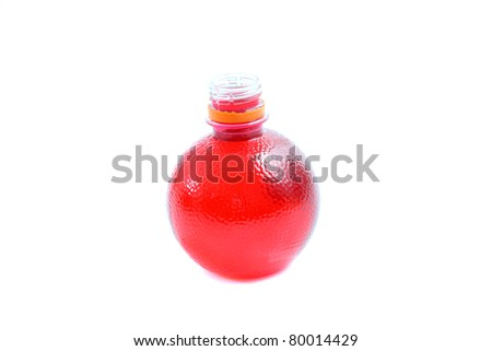 Tomato juice : red water bottle isolated in white background