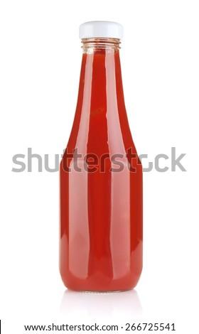 Tomato ketchup bottle. Isolated on white background - stock photo