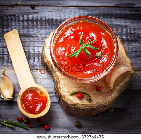 Tomato ketchup. Selective focus. Top view, toned, square image - stock photo