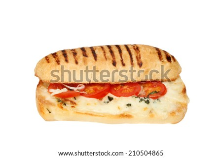 Tomato, mozzarella and basil panini isolated against white - stock photo