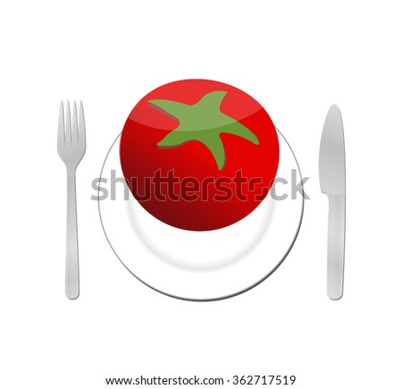 tomato on a plate. organic food illustration design graphic