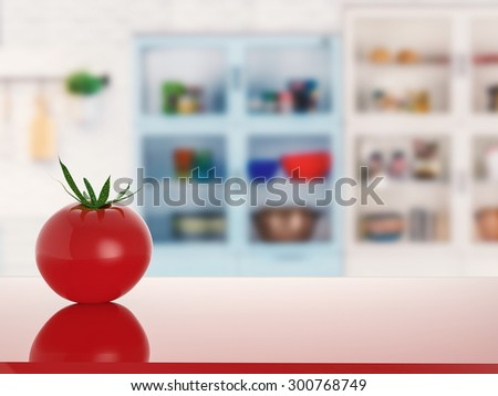 tomato on counter with kitchen background - stock photo