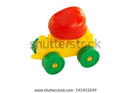 tomato on the details of children's designer with wheels