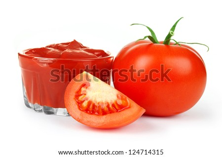 tomato paste on the plate with tomatoes - stock photo