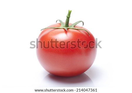 tomato photo with a tail on a white background