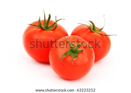 tomato pile isolated on white - stock photo