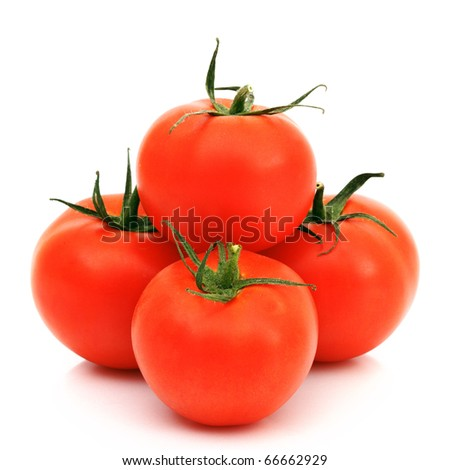 tomato pile slice isolated on white - stock photo