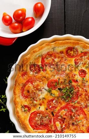 Tomato quiche - stock photo