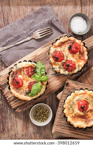 tomato quiche with wine, the national prescription France, Flat Lay. Top view. Flat Lay. Top view.  - stock photo