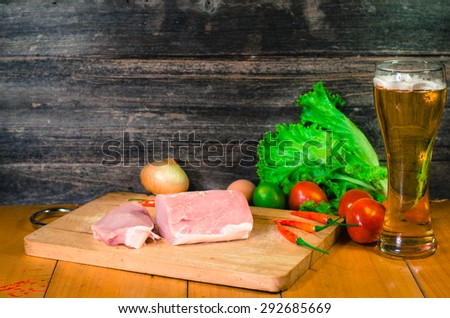tomato salad on a cutting board, selective focus - stock photo