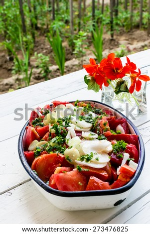 Tomato salad with onion and parsley in a metal tray - stock photo