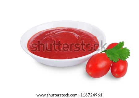 tomato sauce ketchup in bowl isolated on white background - stock photo