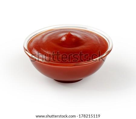 tomato sauce, ketchup on white background - stock photo