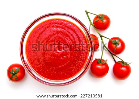 Tomato sauce on a white background seen from above - stock photo