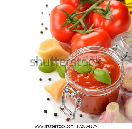 Tomato sauce with basil on a white background - stock photo
