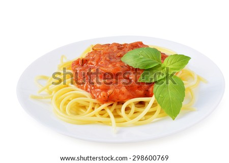 Tomato sauce with spaghetti and herbs on white plate isolated.