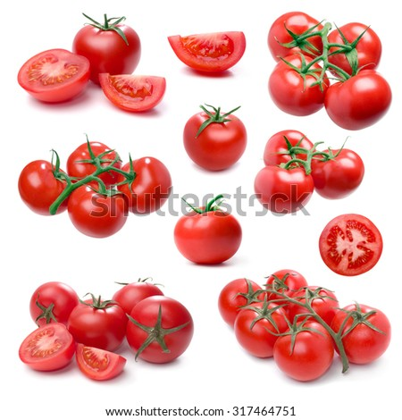 Tomato set isolated on white background. (Single, cluster, group, slice, part). - stock photo