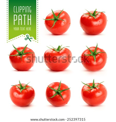 tomato set with clipping path - stock photo