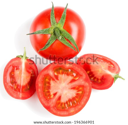 Tomato slice and whole isolated on white background, top view - stock photo