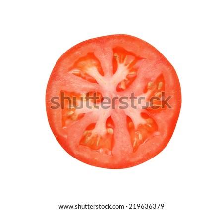 Tomato slice isolated on white background - stock photo