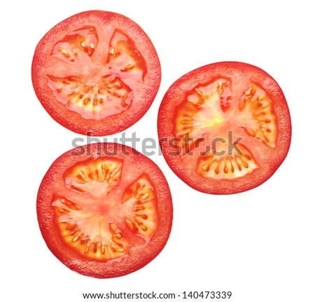 Tomato sliced isolated on white - stock photo
