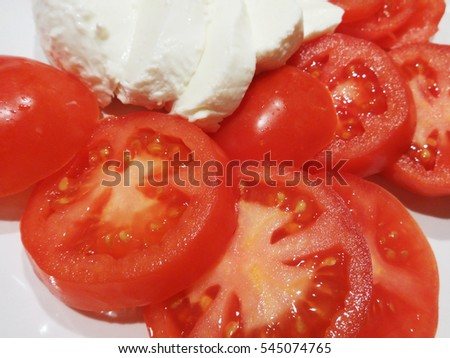 Tomato slices and Mozzarella