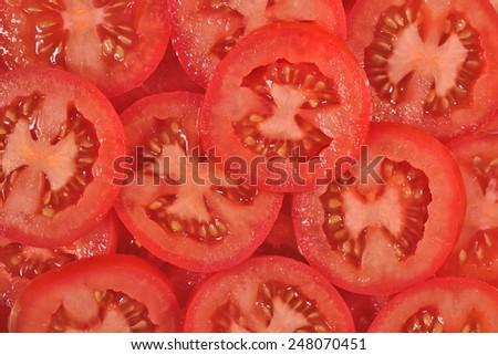 Tomato slices background - stock photo