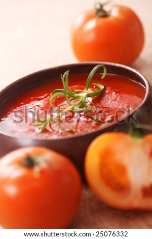 tomato soup. bowl of vegetable soup - stock photo