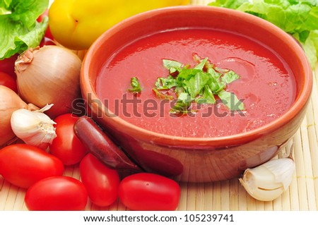Tomato soup closeup - stock photo