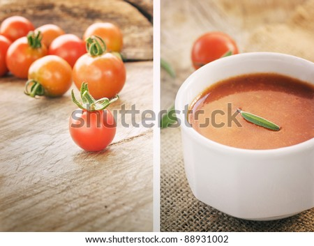 Tomato soup collage with Freshly harvested summer cherry tomatoes on wooden background and hot tomato soup