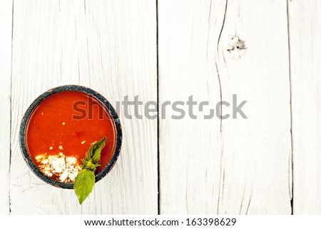 Tomato soup from above - stock photo