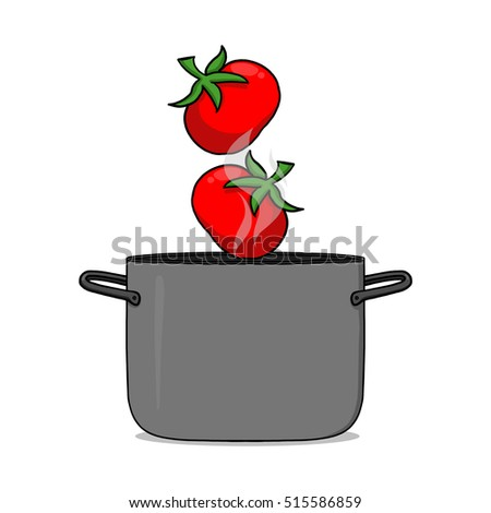 Tomato soup illustration; Pot and tomatoes drawing