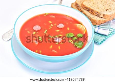 Tomato Soup in Plate. National Italian Cuisine. Studio Photo - stock photo