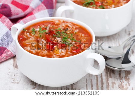 tomato soup with rice and vegetables in a bowl, close-up - stock photo