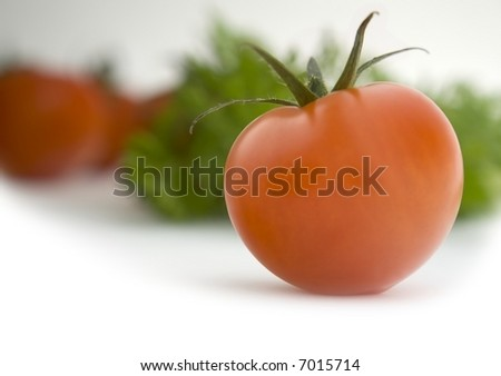 Tomato: Straight Product Shot taken in Studio in Natural Light with other Tomatoes and Herbs in Background - stock photo
