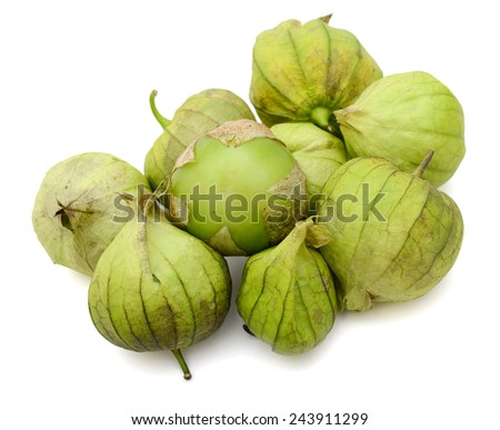 tomato tomatillos fruits isolated on white background