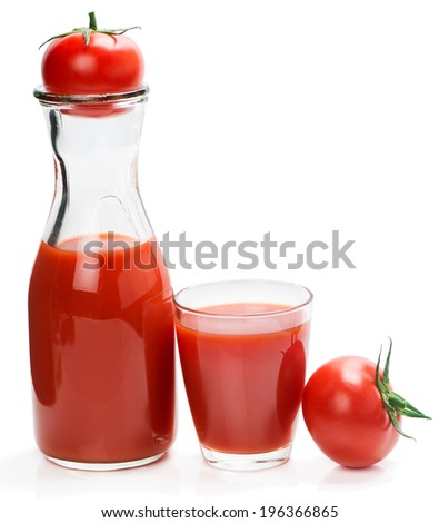 Tomato vegetable juice in glass and bottle isolated on white background.