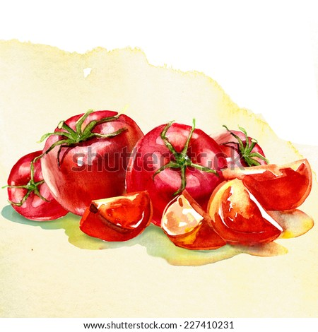 Tomato vegetables pile isolated on white background cutout - stock photo