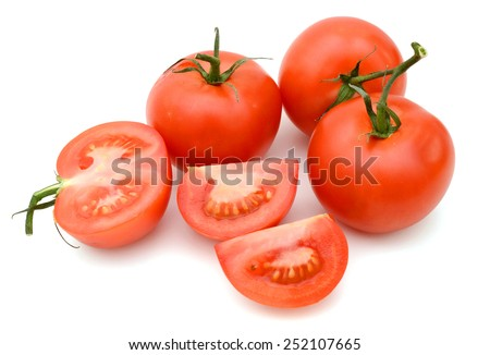 Tomato vegetables pile isolated on white background cutout - stock photo