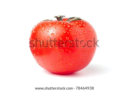Tomato with fresh droplets isolated over white background - stock photo