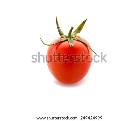 tomato with stem on white background - stock photo