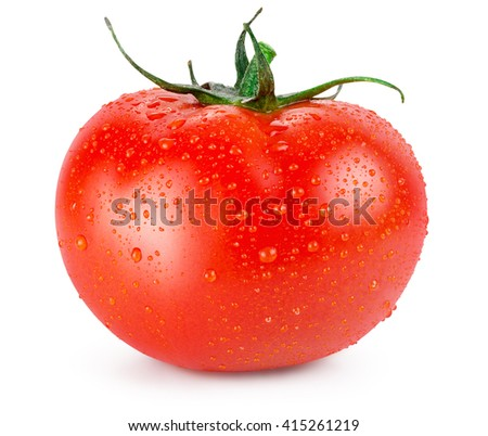 tomato with water drops isolated on a white background