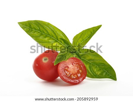 Tomatoes and basil leaves on a white background - stock photo
