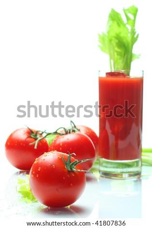 tomatoes and juice, narrow focus - stock photo